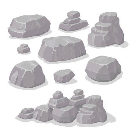 Set of stones, rock elements different shapes cartoon style set, flat design, isometric stones