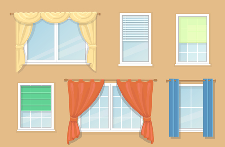 roman blind: Illustration of design blind and types of windows curtains, Jalousie