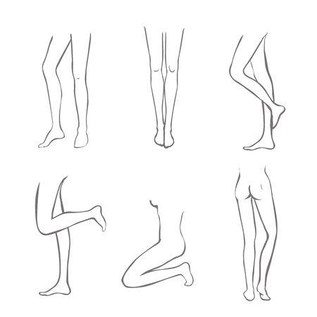 cartoon human: Legs Collection-Set of female legs  in different variations outline attractive foot