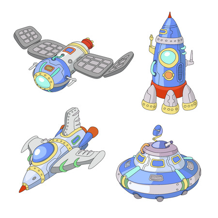 satellite: Spaceship and UFO cartoon set,  Rocket and spacecraft