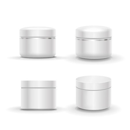 frasco: Blank cosmetic package container set for cream, powder or gel. Isolated