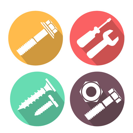 fastening: Bolt and nut flat colorful icons set, illustration Stock Photo