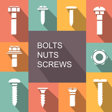 screws: Bolts, nuts and screws colored icons set Stock Photo