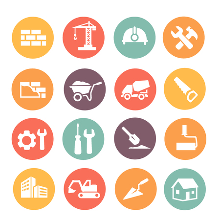 construction icon: Construction work tools colored Icons or buttons set