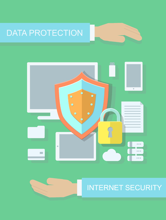 internet protection: Internet security and data protection flat illustration concept for web , sites, infographics. Stock Photo