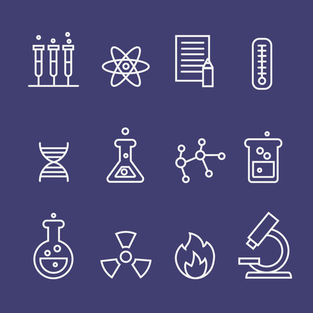 linguistics: Science  and  chemistry research thin line icons set