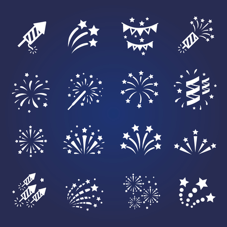 Firework white icon set with  burst petard, stars.  celebration and party