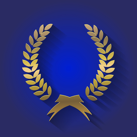 the triumph: gold award wreaths, laurel victory and triumph symbol,  illustration