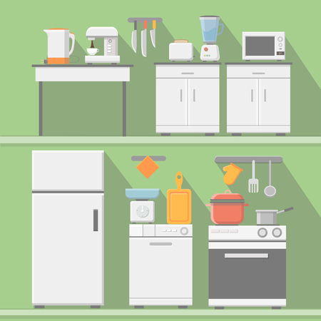 kitchen equipment: Flat kitchen with cooking tools, equipment and furniture. Refrigerator and microwave, toaster and cooker, blender illustration Stock Photo