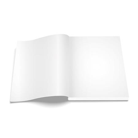 blank magazine: Blank opened magazine template on white background  illustration.