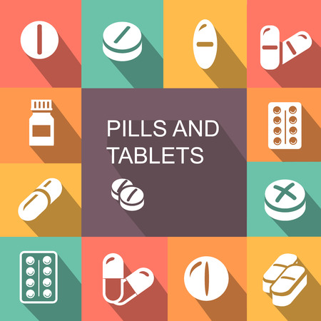 contraceptive: Pills and Tablets medicines and drugs. Capsules colored icons flat style