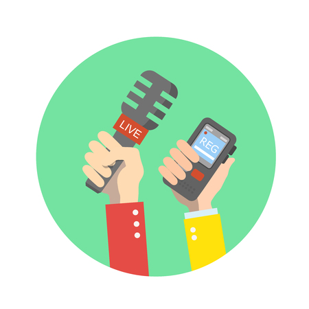 human voice: hand holding microphone. Live news. Press illustration. Flat icon Stock Photo