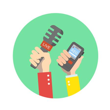 flauta dulce: mano que sostiene el micrófono. Noticias en vivo. Press ilustración. icono plana Foto de archivo