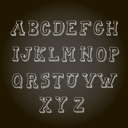handwritten: Vintage hand drawn decorative capital letters alphabet on blackboard