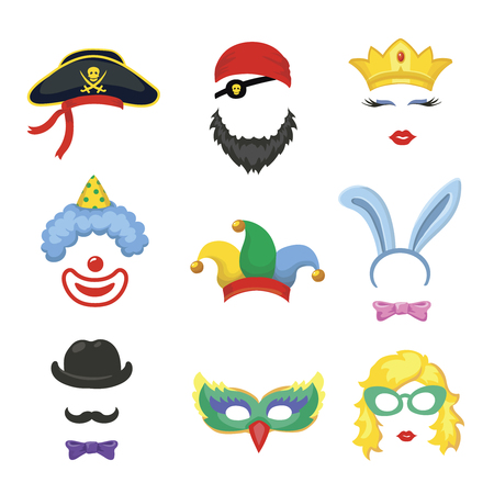 funny face: Photobooth Birthday and Party Set - glasses, hats, crowns, masks, lips, mustaches and clown