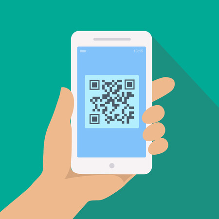 hand holding phone: QR code reader app on smartphone screen. Hand holding phone with Scan  illustration