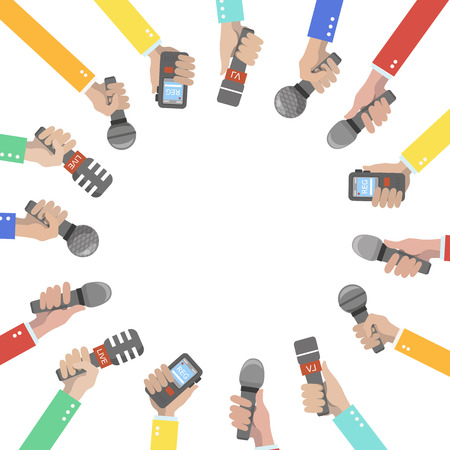 human voice: Set of hands holding microphones and voice recorders. Journalism concept illustration