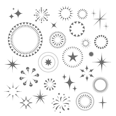 starbursts: Sparkles and Starbursts lights set. Stars with rays Stock Photo