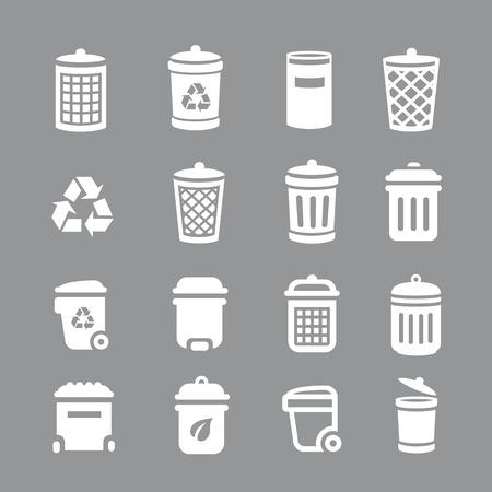 Vuilnisbak en prullenbak pictogrammen. Huisvuil, afval, Vector illustratie