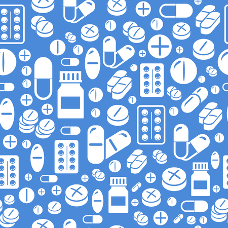 pharmacy pills: Background made from pills and capsules   seamless pattern. Vector pharmacy Illustration