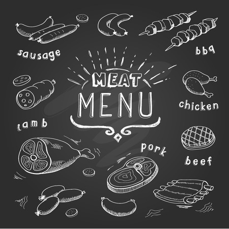 Meat menu on chalkboard. Set of meat symbols, beef, pork, chicken, lamb. Retro Vector Illustration