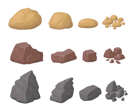pebble: Rocks And Stones Set Illustration various cartoon styled rocks minerals
