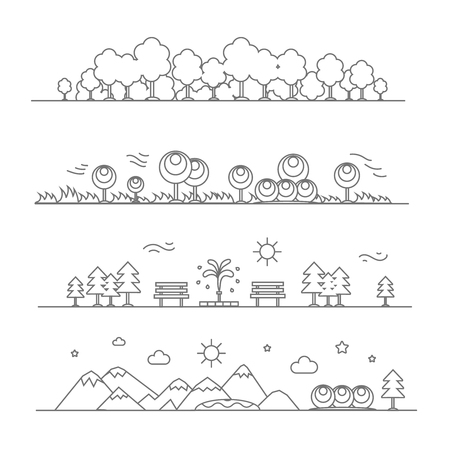 scenics: Set of horizontal abstract banners of mountains, trees, forest, flowers,  plant and bench design elements, vector illustration, linear style. Illustration