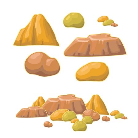 sedimentary: Set of cartoon vector stones and  minerals