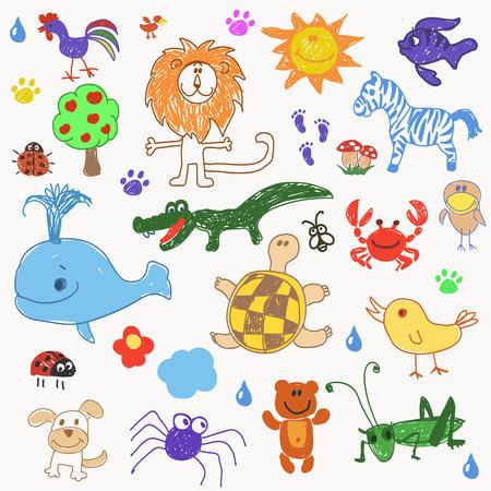Childrens drawing doodle animals trees. vector illustration Stock Illustratie