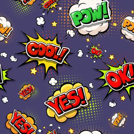 Kleurrijke tekstballonnen en explosies in pop art stijl. Ontwerp comic. Ok, cool, ja, pow, oops comic fonts.