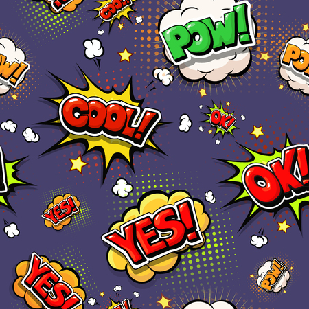 Colorful speech bubbles and explosions in pop art style.  Design comic. Ok, cool, yes, pow, oops  comic fonts. Illustration