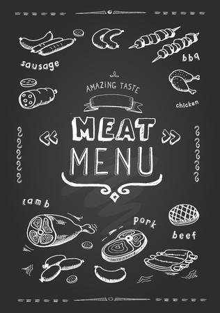 칠판에 고기 메뉴입니다. 고기 기호, 쇠고기, 돼지 고기, 닭고기와 양고기의 집합입니다. 벡터 일러스트 레이션