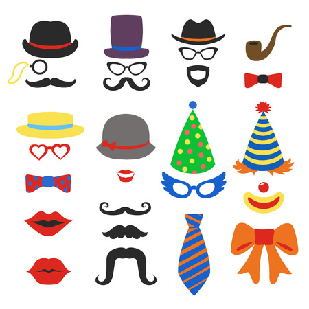 Birthday party vector photo booth props - Glasses, hats, lips, mustaches, ties and pipe photo booth, scrapbook in vector