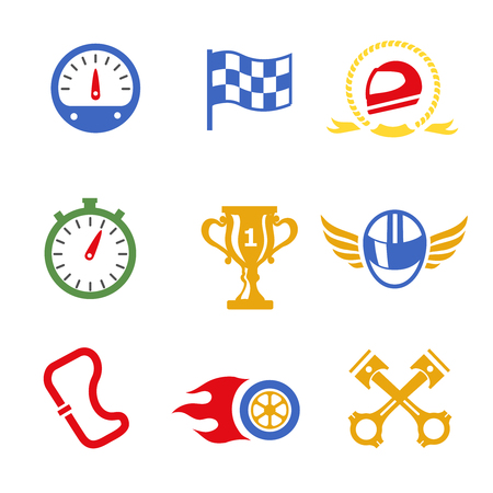 formula one racing: Motor race formula icons set. Speedometer, helmet and cup, winning finish