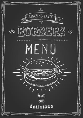 chalk board: Burger poster menu sketch drawing on the chalkboard.Vector illustration.