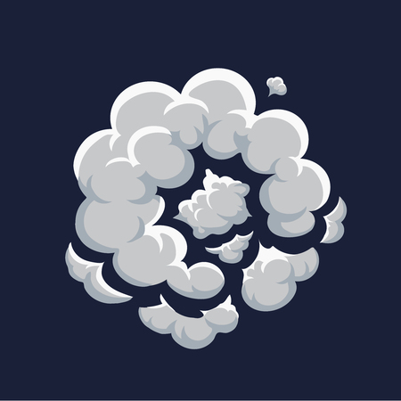 bomb explosion: Smoke dust explosion cartoon frame vector