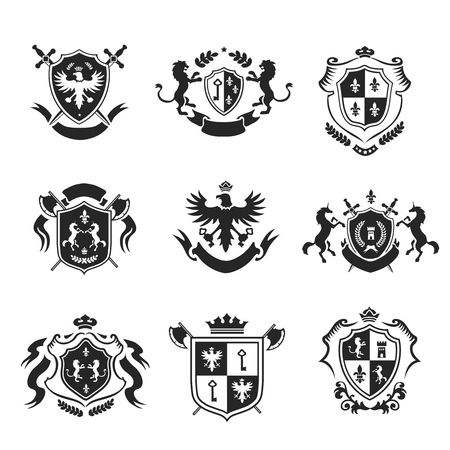 eagle badge: Heraldic coat of arms decorative emblems black set with royal crowns and animals isolated vector illustration.