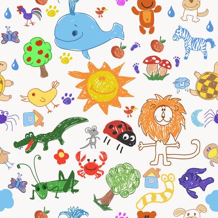 Childrens dibujo árboles animales de bosquejo y modelo inconsútil de sol. ilustración vectorial