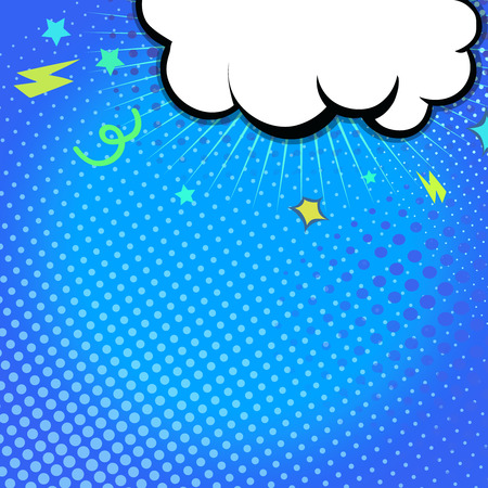 Comic book illustration with explosion on top. Vector illustration