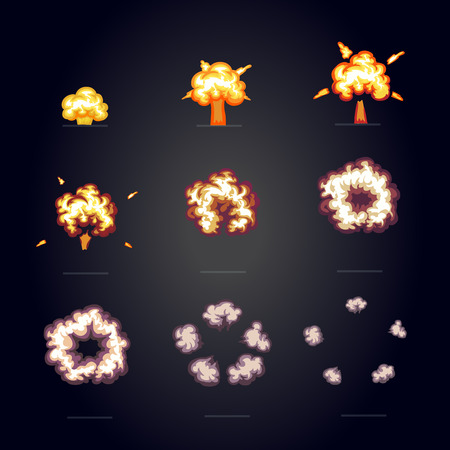 atomic explosion: Cartoon explosion effect with smoke. Boom, explode flash, bomb comic frame for game animation