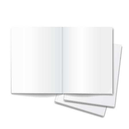open magazine: Blank open books isolated over white background, magazine double-page vector Illustration