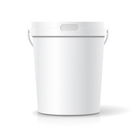 handles: White food plastic tub bucket container with handle for dessert, yogurt, ice cream, or snack.
