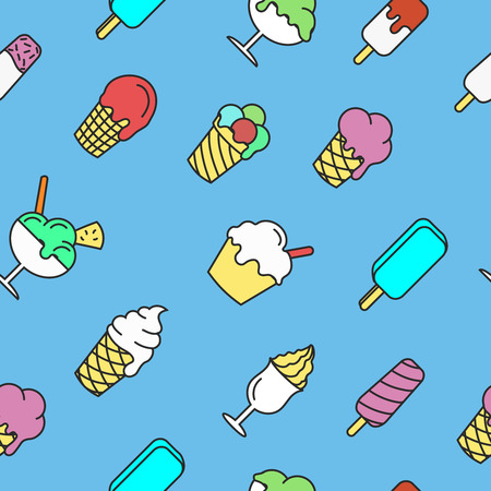 chock: Seamless pattern with linear ice cream and dessert, vector illustration