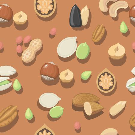 almonds: Vector seamless pattern nuts hazelnut, almonds, peanuts, walnut cashew or pistachios, coconut and pecan Illustration