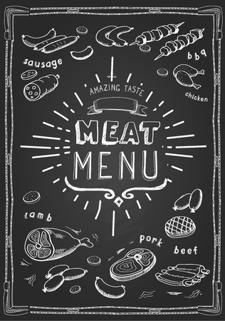 chops: Retro meat menu icons on chalkboard with lamb chops sausage wieners pork ham vector Illustration