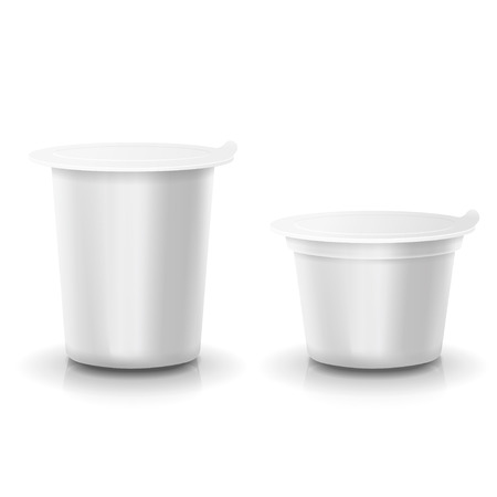 plastic container: Realistic vector plastic container of yogurt or dessert Mock-up packages