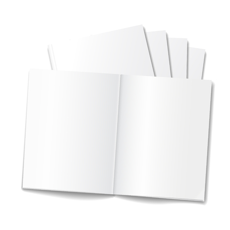 libro abierto: Plantilla en blanco revista o libreta abierta en el fondo blanco. realista del vector Vectores