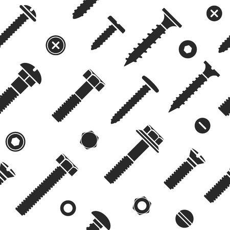 industrial icon: Nut and bolt head icons seamless pattern