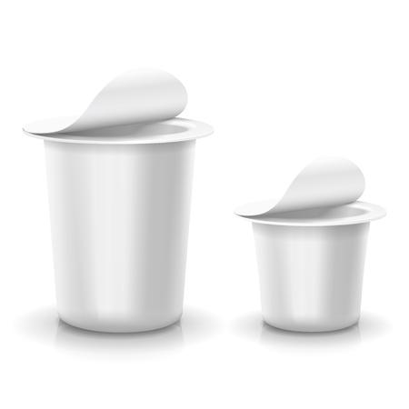 plastic container: Opened white cup tub food plastic container for dessert, yogurt, ice cream Vector