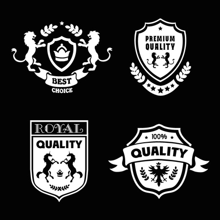 royal quality: Heraldic premium quality emblems set with royal traditions symbols vector illustration